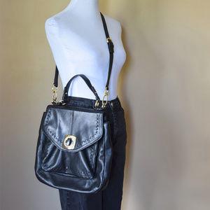 B Makowsky Black Leather Satchel Bag